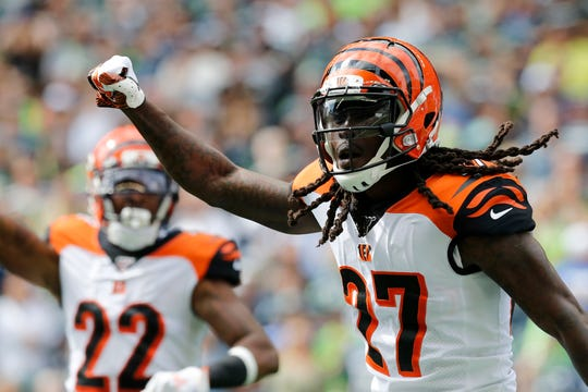 Cincinnati Bengals cornerback Dre Kirkpatrick (27) celebrates a stop in the first quarter of the NFL Week 1 game between the Seattle Seahawks and the Cincinnati Bengals at CenturyLink Field in Seattle on Sunday, Sept. 8, 2019.
