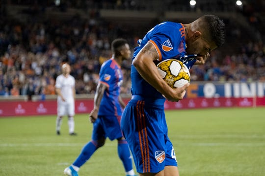 FCC player Emmanuel Ledesma (45) reacts after scoring a penalty kick during the FC Cincinnati vs Toronto FC match on Saturday, Sept. 7, 2019 at Nippert Stadium in Cincinnati, Ohio.