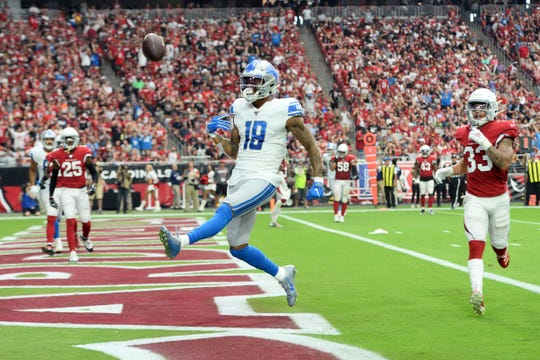 Detroit Lions receiver Kenny Golladay celebrates his touchdown against the Arizona Cardinals during the first half Sunday, Sept. 8, 2019, in Glendale, Ariz.