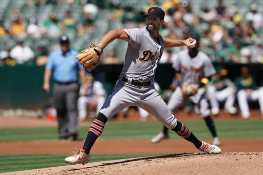 Tigers pitcher Daniel Norris throws a pitch during the first inning on Sunday, Sept. 8, 2019, in Oakland, Calif.