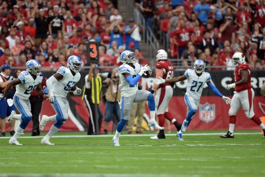 Detroit Lions defensive back Tracy Walker celebrates an interception against the Arizona Cardinals during the first half Sunday, Sept. 8, 2019, in Glendale, Ariz.