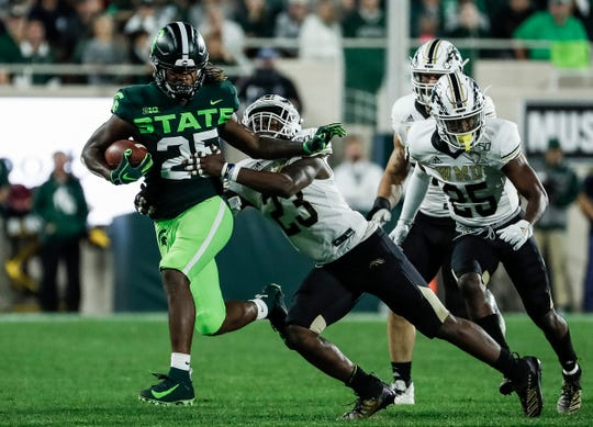 Michigan State receiver Darrell Stewart Jr. runs against Western Michigan linebacker Treshaun Hayward (23) during the second half at Spartan Stadium in East Lansing, Saturday, September 7, 2019.
