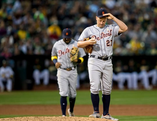 Detroit Tigers starting pitcher Jordan Zimmermann reacts after loading the bases in the fourth inning against the Oakland Athletics, Saturday, Sept. 7, 2019 in Oakland, Calif.