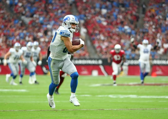 Detroit Lions receiver Danny Amendola runs for a touchdown against the Arizona Cardinals in the second quarter Sept. 8, 2019.