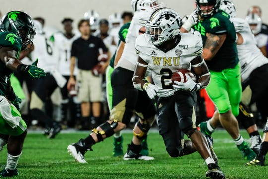 Western Michigan running back LeVante Bellamy returns a kick against Michigan State during the second half at Spartan Stadium in East Lansing, Saturday, September 7, 2019.