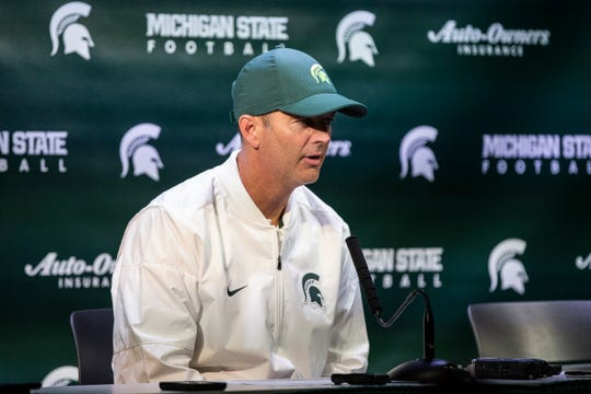 Michigan State offensive coordinator Brad Salem answers questions after the 51-17 win over Western Michigan at Spartan Stadium, Saturday, September 7, 2019.