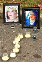 Portraits of Saja Aljanabi at a makeshift memorial on Bingham.