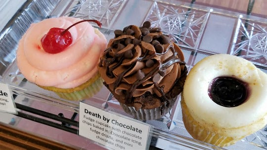 Cherry Limeade, Death by Chocolate, and Blueberry Cheesecake cupcakes at Gayla Cake.