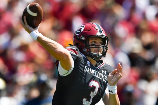 South Carolina quarterback Ryan Hilinski passes during an NCAA college football game against Charleston Southern, Saturday in Columbia.