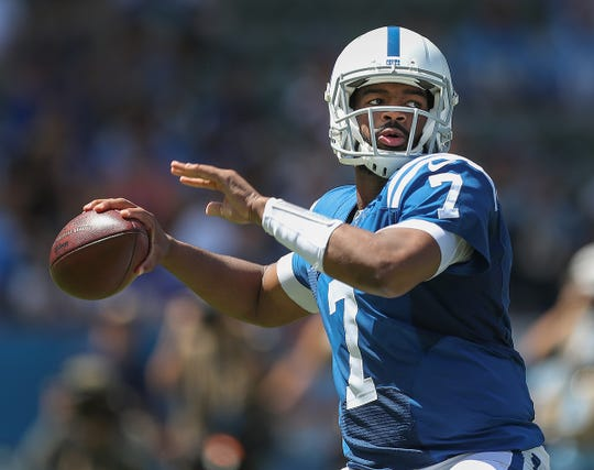 Indianapolis Colts quarterback Jacoby Brissett (7) drops back to pass on the Los Angeles Chargers defense in the first half of their game at Dignity Health Sports Park in Carson, CA., on Sunday, Sept., 8, 2019.