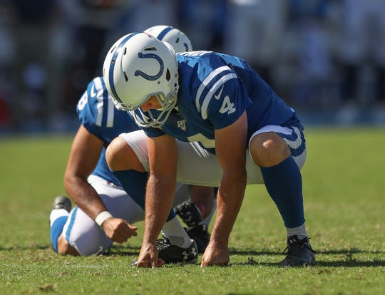 Indianapolis Colts kicker Adam Vinatieri (4) reacts to missing a 29-yard field goal in the fourth quarter of their game at Dignity Health Sports Park in Carson, CA., on Sunday, Sept., 8, 2019.