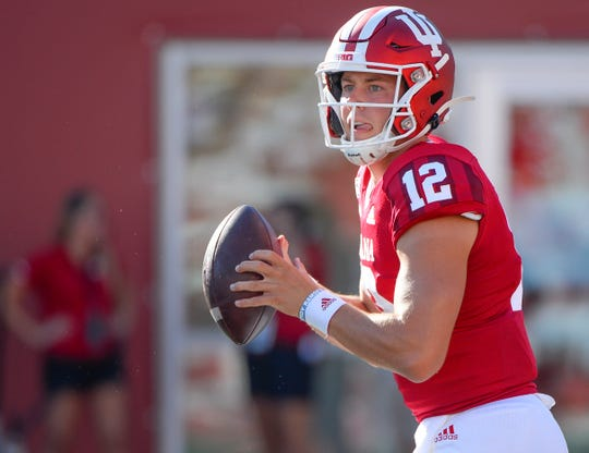 Indiana Hoosiers quarterback Peyton Ramsey (12) drops back to pass during the game against Eastern Illinois at Memorial Stadium in Bloomington, Ind., on Saturday, Sept. 7, 2019.