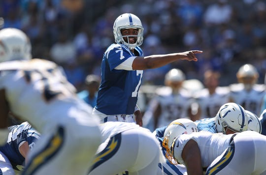 Indianapolis Colts quarterback Jacoby Brissett (7) calls a play at the line in the third quarter of their game against the Los Angeles Chargers on Sunday at Dignity Health Sports Park in Carson, California.
