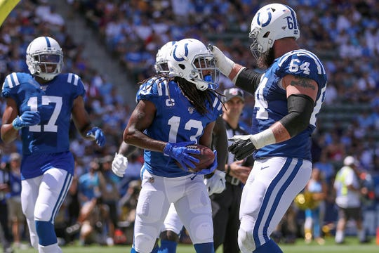Indianapolis Colts wide receiver T.Y. Hilton (13) celebrates his touchdown in the second quarter of their game at Dignity Health Sports Park in Carson, CA., on Sunday, Sept., 8, 2019.