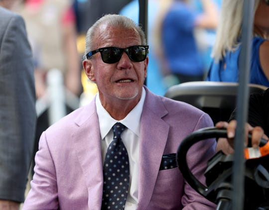 Indianapolis Colts owner Jim Irsay before the start of their game against the Los Angeles Chargers at Dignity Health Sports Park in Carson, CA., on Sunday, Sept., 8, 2019.