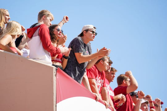 Fans celebrate after an Indiana touchdown during the game against Eastern Illinois at Memorial Stadium in Bloomington, Ind., on Saturday, Sept. 7, 2019.
