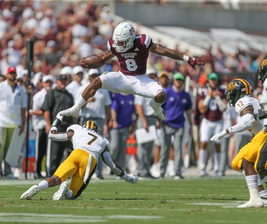 Mississippi State running back Kylin Hill hurdled another defender against Southern Miss on Saturday. Hill has run for 320 yards on 7.8 yards per carry this season.
