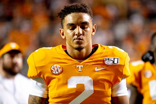 Tennessee quarterback Jarrett Guarantano (2) walks off the self-discipline after falling to BYU 29-26 in time beyond law at Neyland Stadium in Knoxville, Tennessee on Saturday, September 7, 2019.