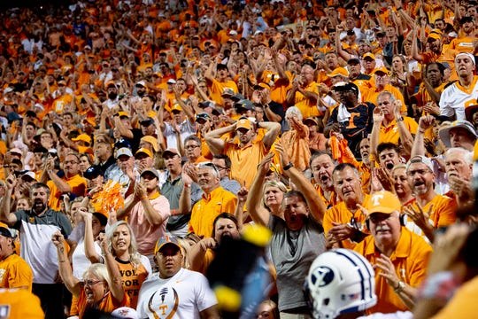 Tennessee fans cheer during a game between Tennessee and BYU at Neyland Stadium in Knoxville, Tennessee on Saturday, September 7, 2019.