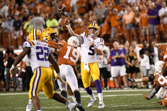 Sep 7, 2019; Austin, TX, USA; Louisiana State Tigers quarterback Joe Burrow (9) throw a pass in the first half against the Texas Longhorns at Darrell K Royal-Texas Memorial Stadium. Mandatory Credit: Scott Wachter-USA TODAY Sports