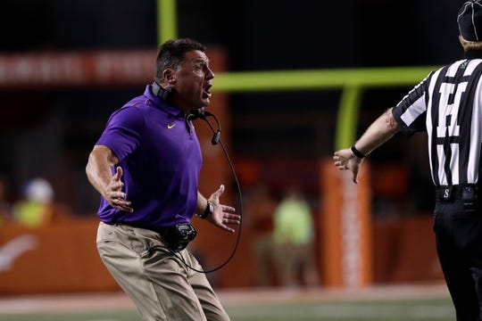 LSU head coach Ed Orgeron reacts to a call during the second half of an NCAA college football game against Texas, Saturday, Sept. 7, 2019, in Austin, Texas. (AP Photo/Eric Gay)