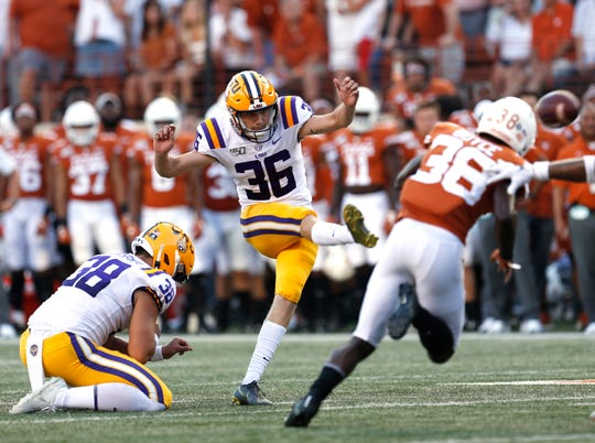 Sep 7, 2019; Austin, TX, USA; LSU Tigers place kicker Cade York (36) kicks a field goal against Texas Longhorns for the only points in first quarter  at Darrell K Royal-Texas Memorial Stadium. Mandatory Credit: Ronald Cortes-USA TODAY Sports