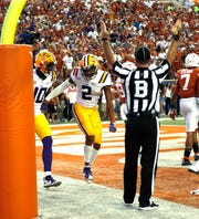 Sep 7, 2019; Austin, TX, USA; LSU Tigers wide receiver Justin Jefferson (2) celebrates his first touchdown reception against the Texas Longhorns in the first half at Darrell K Royal-Texas Memorial Stadium. Mandatory Credit: Ronald Cortes-USA TODAY Sports