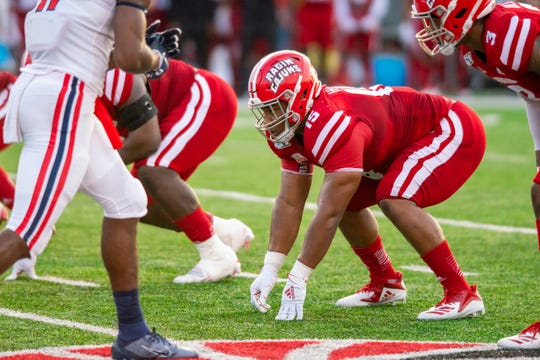 Senior UL defensive lineman Bennie Higgins, shown here during a win over Liberty earlier this season, has 29 tackles heading into the LendingTree Bowl.