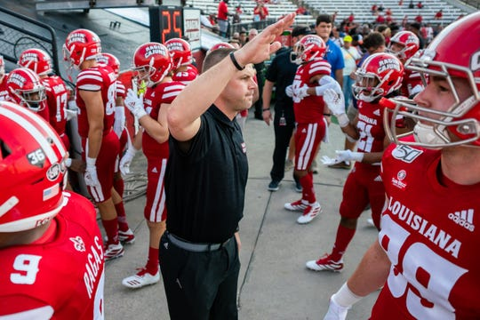 UL coach Billy Napier, whose Ragin' Cajuns visit Georgia Southern on Saturday, hypes up his team before its win over Liberty earlier this month.