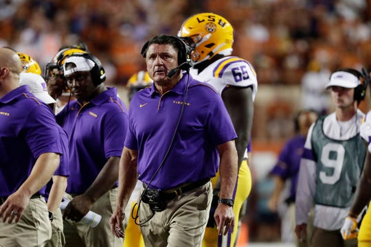 LSU head coach Ed Orgeron during the first half of an NCAA college football game against Texas , Saturday, Sept. 7, 2019, in Austin, Texas. (AP Photo/Eric Gay)