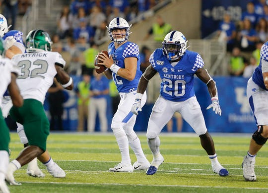 Sep 7, 2019; Lexington, KY, USA; Kentucky Wildcats quarterback Sawyer Smith (12) passes the ball against the Eastern Michigan Eagles at Kroger Field.