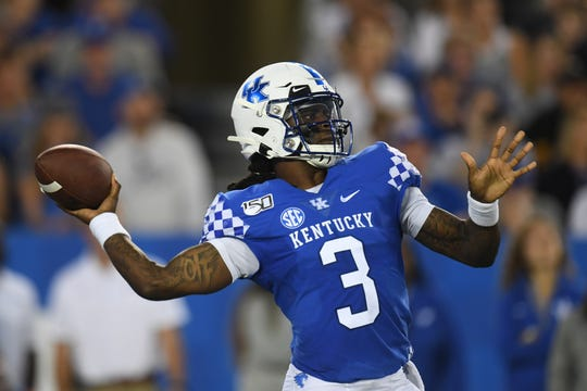 UK QB Terry Wilson during the University of Kentucky football game against Eastern Michigan at Kroger Field in Lexington, Kentucky on Saturday, September 7, 2019.