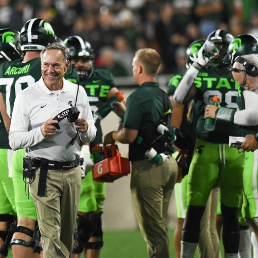 MSU Coach Mark Dantonio had his 109th win Saturday, Sept. 8, 2019, and is now tied with Duffy Daugherty as the all-time winningest football coach in Michigan State history.