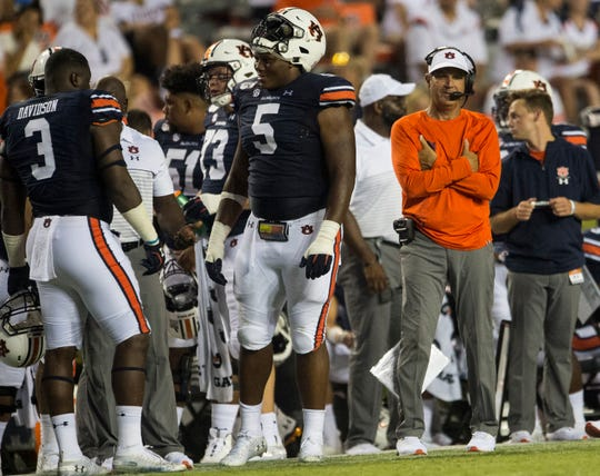 Auburn defensive coordinator Kevin Steele watches the game from the sideline at Jordan-Hare Stadium in Auburn, Ala., on Saturday, Sept. 7, 2019. Auburn defeated Tulane 24-6.
