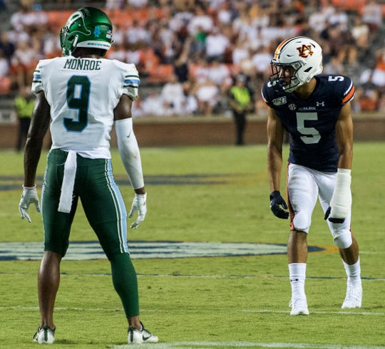Auburn wide receiver Anthony Schwartz (5) gets into the game during the final plays at Jordan-Hare Stadium in Auburn, Ala., on Saturday, Sept. 7, 2019. Auburn defeated Tulane 24-6.