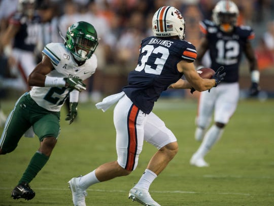 Auburn wide receiver Will Hastings (33) catches a pass at Jordan-Hare Stadium in Auburn, Ala., on Saturday, Sept. 7, 2019. Auburn leads Tulane 14-6 at halftime.
