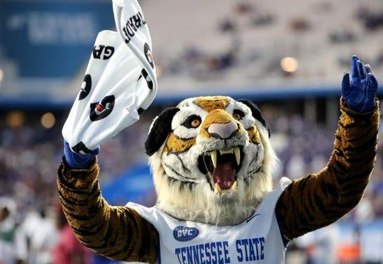 The TSU mascot pumps up the crowd at the game between MTSU and TSU at MTSU on Saturday Sept. 7, 2019.
