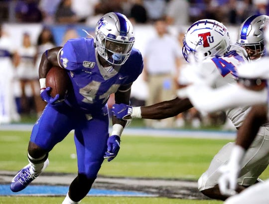 MTSU running back Chaton Mobley (44) runs the ball in for a touchdown during the game against TSU at MTSU on Saturday Sept. 7, 2019.