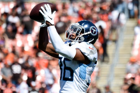 Tennessee Titans cornerback LeShaun Sims (36) makes a catch during warmups before the game at FirstEnergy Stadium Sunday, Sept. 8, 2019 in Cleveland, Ohio.