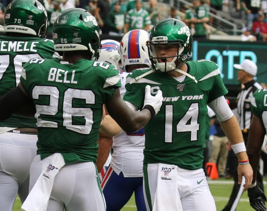 Le'Veon Bell and Sam Darnold of the NY Jets after Bell scored a second half TD in the 2019 season opener between the Buffalo Bills vs the New York Jets from MetLife Stadium in East Rutherford, NJ on September 8, 2019.