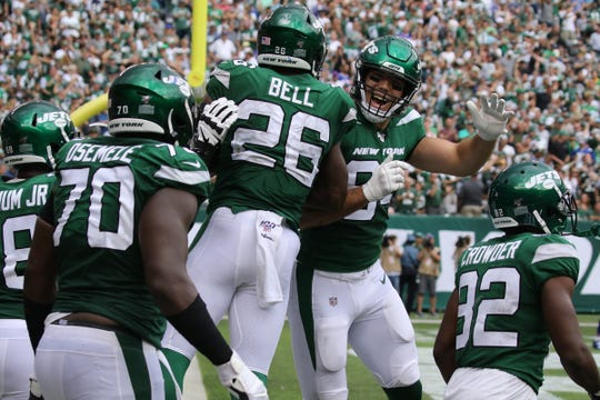Le'Veon Bell and Ryan Griffin of the Jets after Bell scored a second half TD in the 2019 season opener between the Buffalo Bills vs the New York Jets from MetLife Stadium in East Rutherford, NJ on September 8, 2019.