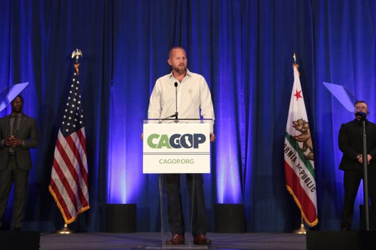 Brad Parscale, campaign manager for President Donald Trump's reelection campaign, speaks during the California GOP fall convention in Indian Wells, Calif., on Saturday, September 7, 2019.