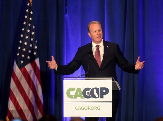 San Diego Mayor Kevin Faulconer speaks during the California GOP fall convention in Indian Wells, Calif., on Saturday, September 7, 2019.