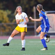Elco's Katelyn Rueppel (3) defends against Cedar Crest's Stella Ludwig (27).