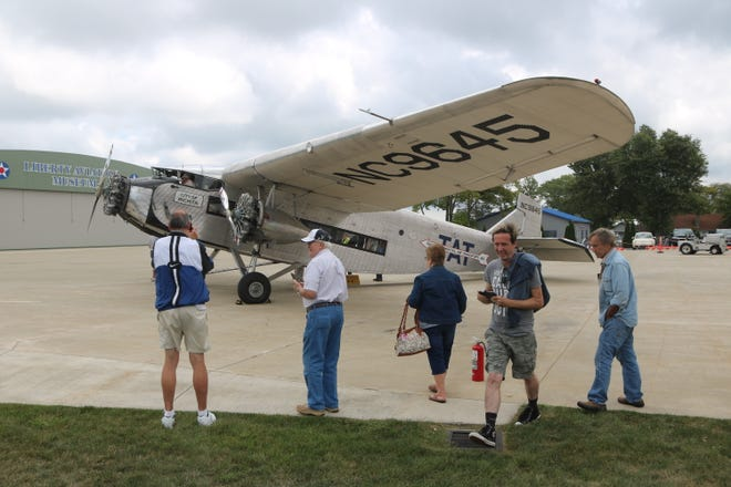 """The """"Tin Goose,"""" a restored 1929 Ford Tri-Motoraircraft and popular staple at the Liberty Aviation Museum offered trips back in time on Saturday."""