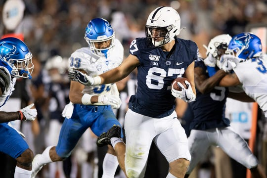 Pat Freiermuth (87) and fellow tight end Nick Bowers will be on the spot in the intermediate passing game Saturday at Michigan State. Penn State must become better with this options and Freiermuth, in particular, is one of the most talented in the Big Ten.