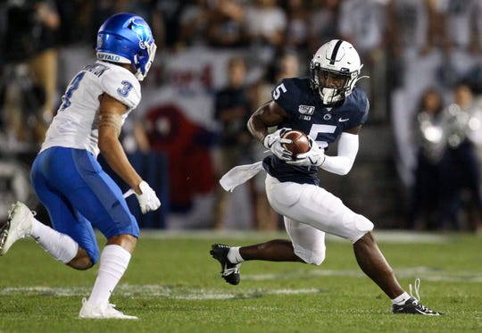 Sep 7, 2019; University Park, PA, USA; Penn State Nittany Lions wide receiver Jahan Dotson (5) runs with the ball during the first quarter against the Buffalo Bulls at Beaver Stadium. Matthew O'Haren-USA TODAY Sports