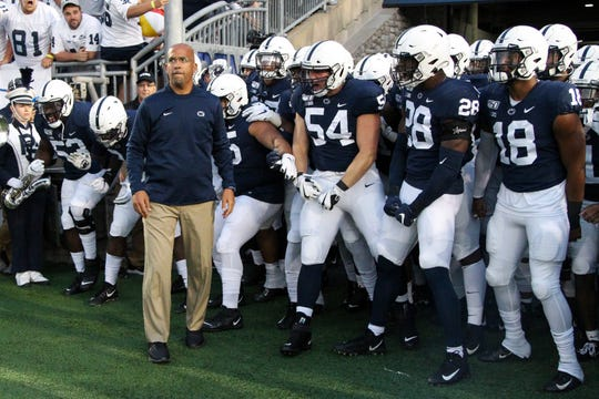 Sep 7, 2019; University Park, PA, USA; Penn State Nittany Lions head coach James Franklin stands in front of his players prior to taking the field against the Buffalo Bulls at Beaver Stadium. Mandatory Credit: Matthew O'Haren-USA TODAY Sports