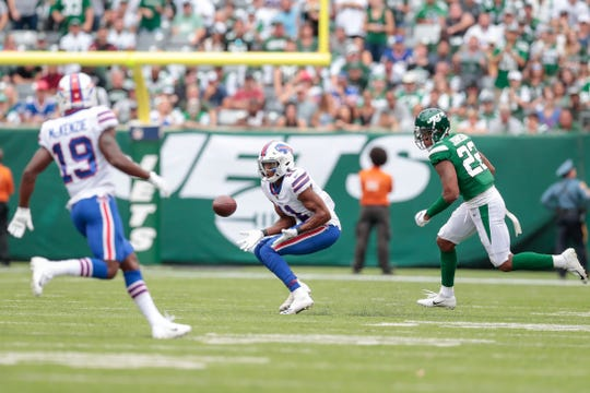 Buffalo Bills wide receiver Zay Jones (11) catches a pass in front of New York Jets cornerback Trumaine Johnson (22) during the second half of a Sept. 8 game at MetLife Stadium. Jones has been traded to the Oakland Raiders.