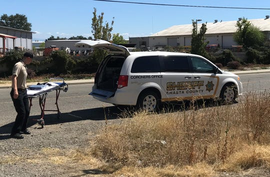 A Shasta County Coroner's Office official was called after a man was struck and killed as he walked along the railroad tracks in downtown Redding on Sunday.